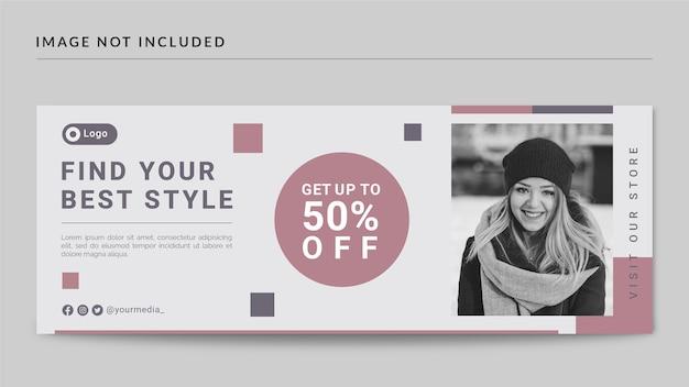 Facebook-cover und web-banner-vorlage im modestil