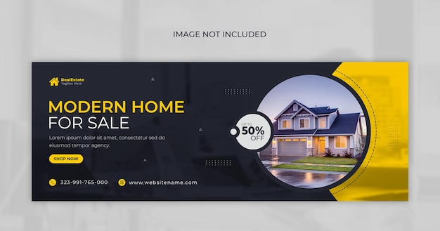 Facebook-cover und web-banner-vorlage zum verkauf von immobilien