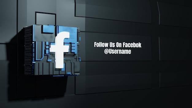 Facebook-social-media-mockup folgen sie uns mit dem hintergrund der 3d-zukunftsbox-technologie