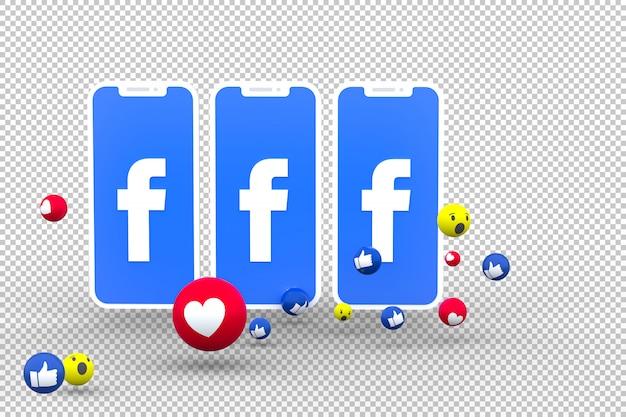 Facebook-symbol auf dem bildschirm smartphones und facebook-reaktionen