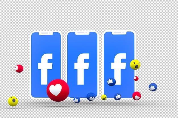 Facebook-symbol auf dem bildschirm von smartphone oder handy und facebook-reaktionen