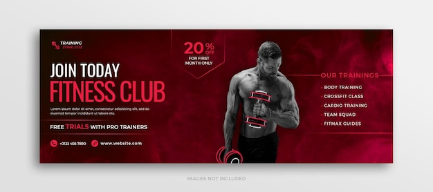 Facebook-timeline-cover oder social-media-webbanner-vorlage für sport- und fitnesstraining im fitnessstudio