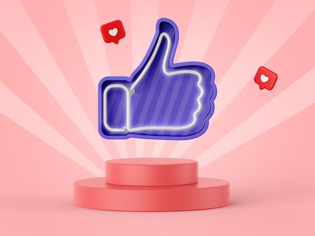 Facebook wie symbol in 3d-rendering