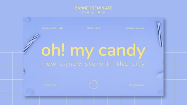 Fahnendesign für süßigkeitengeschäftsschablone