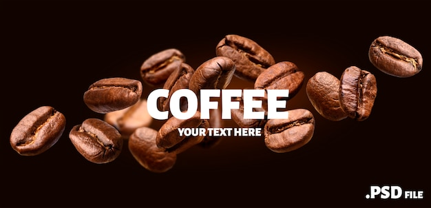 Fallende kaffeebohnenfahne auf schwarzem hintergrund