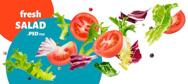 Fallender salat aus rucola, salat, radicchio, grünem frise und tomaten
