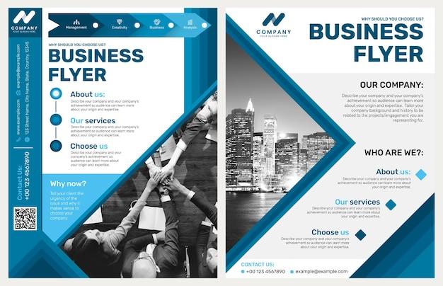 Faltbare business-flyer-vorlage psd im blauen modernen design