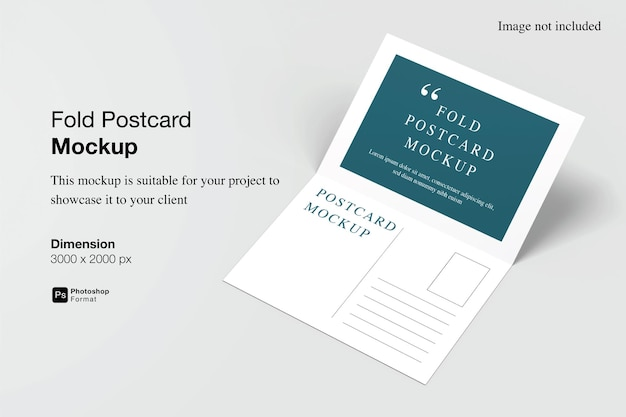 Falten sie postkartenmodell-design in 3d-rendering