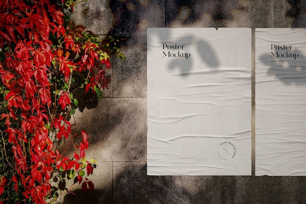 Faltige plakat-mockup-szene