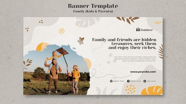 Familie mit eltern und kinder-banner-vorlage