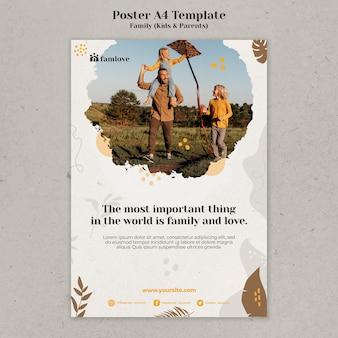 Familie mit eltern und kindern poster-design-vorlage