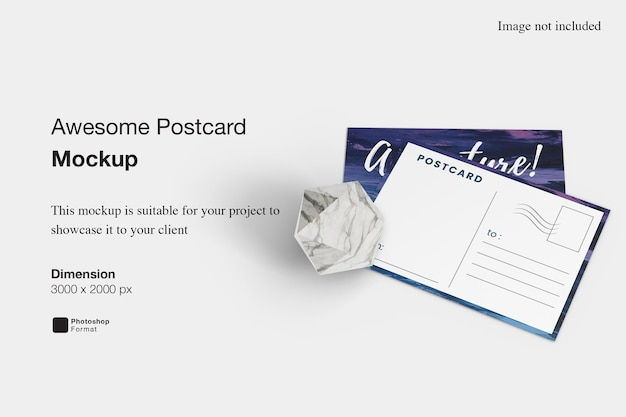 Fantastisches postkartenmodell-design-rendering