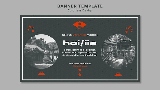 Farblose design-banner-vorlage