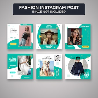 Fashion instagram post template-sammlung