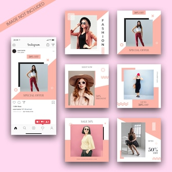 Fashion instagram post template-set und screenshot-modell