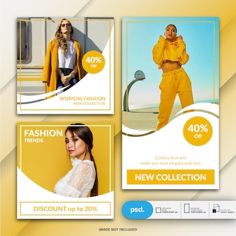 Fashion instagram post und story-vorlage oder quadratische banner