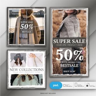 Fashion instagram story und square post oder banner vorlage
