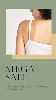 Fashion mega sale template psd für social media story