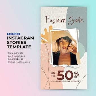 Fashion sale rabatt vorlage für social media geschichten