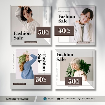 Fashion sale social media bannersammlung