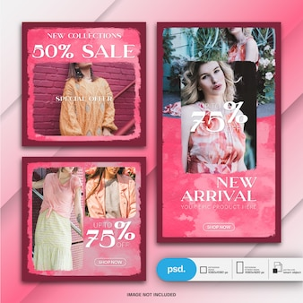 Fashion web banner vorlage für soziale medien