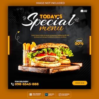 Fast-food-burger social media und instagram-banner