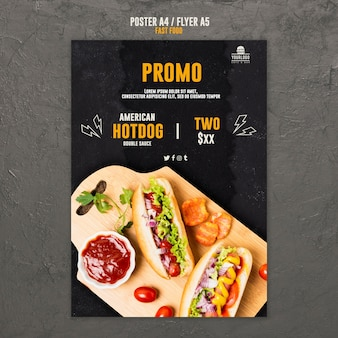 Fast-food-konzept flyer-stil