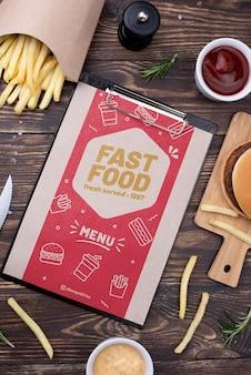 Fast-food-menü konzept modell