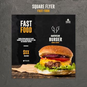 Fast food square flyer