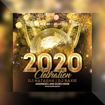 Feier-partyflugblatt des neuen jahres 2020