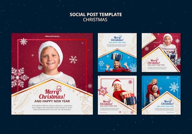 Feierliche weihnachts-ig-posts-set