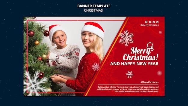 Feierliche weihnachtsbanner-vorlage