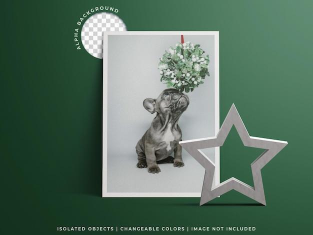Feiertagsgrußrahmen fotoplakat weihnachtskartenmodell mit dekoration isoliert