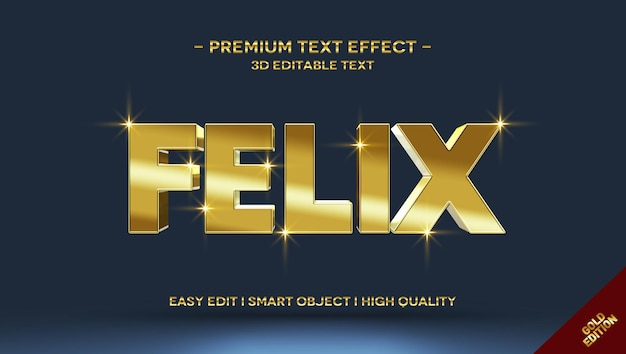 Felix 3d gold-textstil-effektvorlage Premium PSD