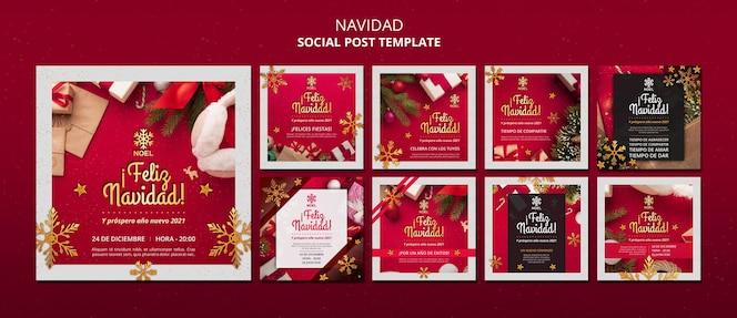 Feliz navidad social media beiträge vorlage