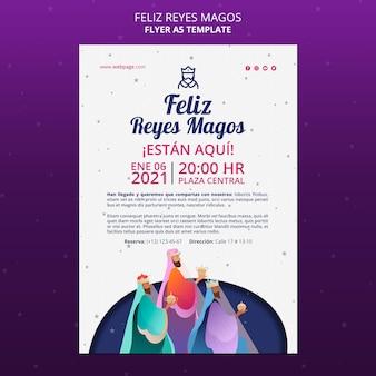 Feliz reyes magos flyer vorlage