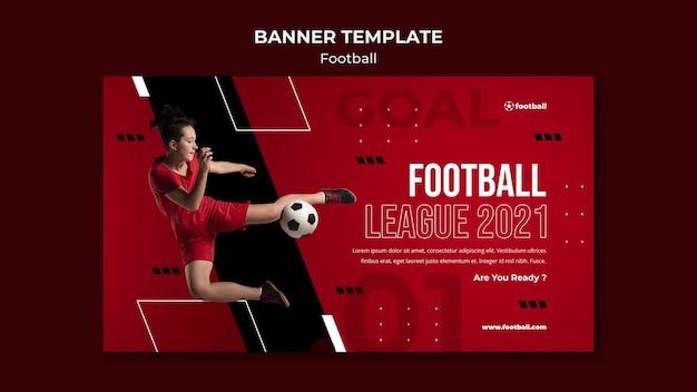 Feminine fußballbanner-vorlage