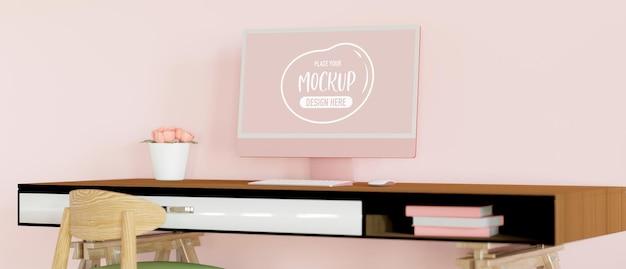 Femininer schreibtisch mit computer-blumenvase und zubehör
