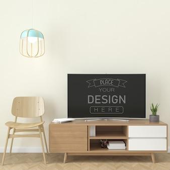 Fernseher im wohnzimmer mockup