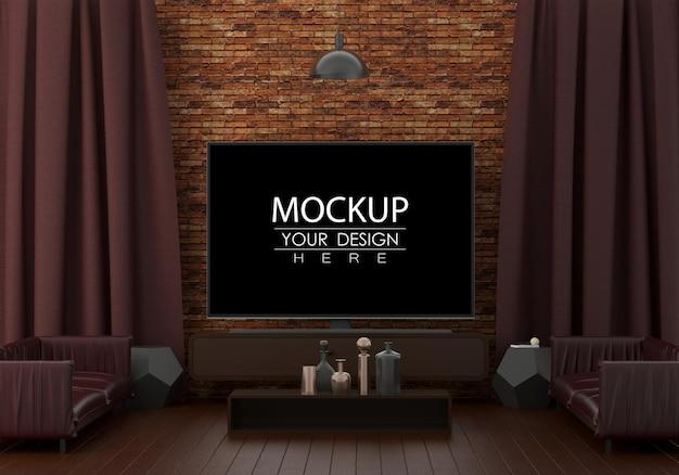 Fernseher im wohnzimmer psd mockup