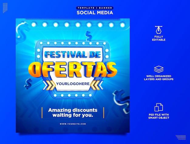 Festival der angebote social media template produktwerbung