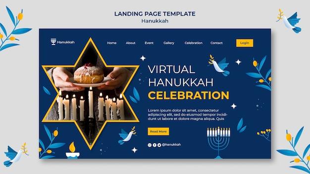 Festliche chanukka-landingpage-vorlage