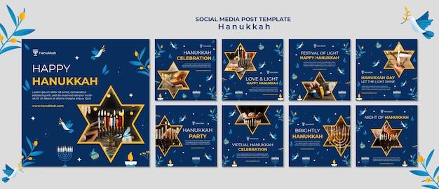 Festliche chanukka-posts in den sozialen medien