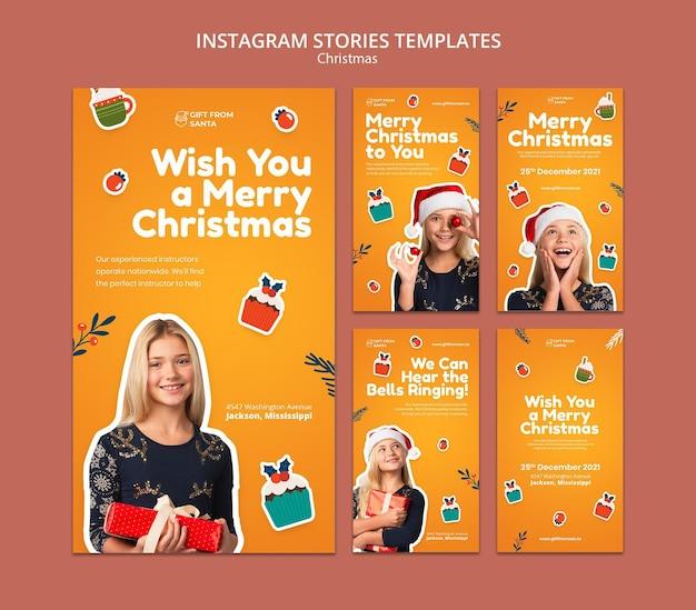 Festliche weihnachts-instagram-geschichten-sammlung