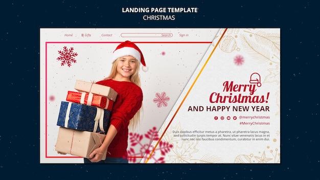 Festliche weihnachts-landing-page-vorlage