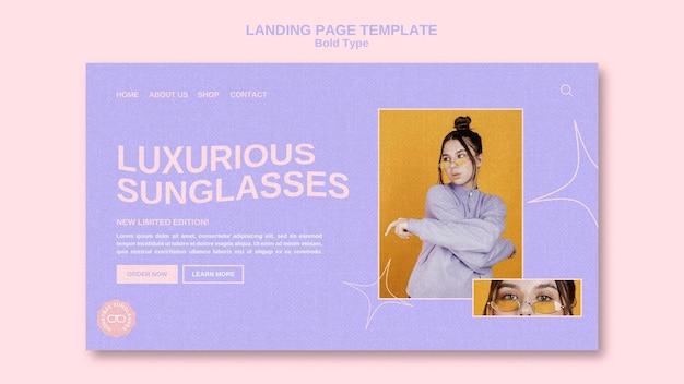 Fettgedruckte sonnenbrillen-webvorlage