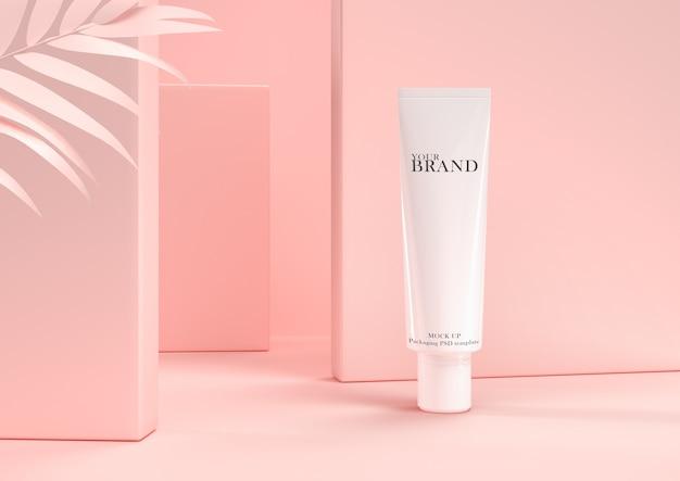 Feuchtigkeitsspendende kosmetische premiumprodukte der hautpflege auf blattwand.