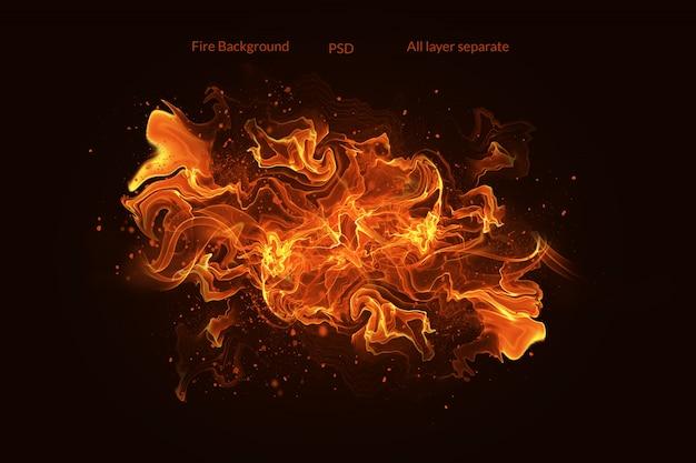 Feuerflammen mit funken auf einem schwarzen hintergrund