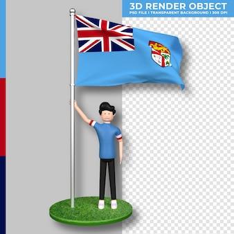 Fidschi-flagge mit niedlichen menschen-cartoon-figur. 3d-rendering.