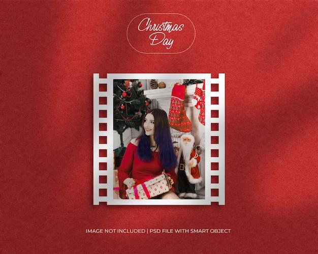 Filmrollenrahmen fotomodell für weihnachten und frohe weihnachten